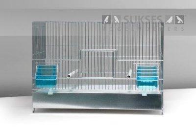 Stalen kooi 1-delig 32x45x25 cm (hxbxd) met ijzeren voorklep plastic lade en bodemrooster